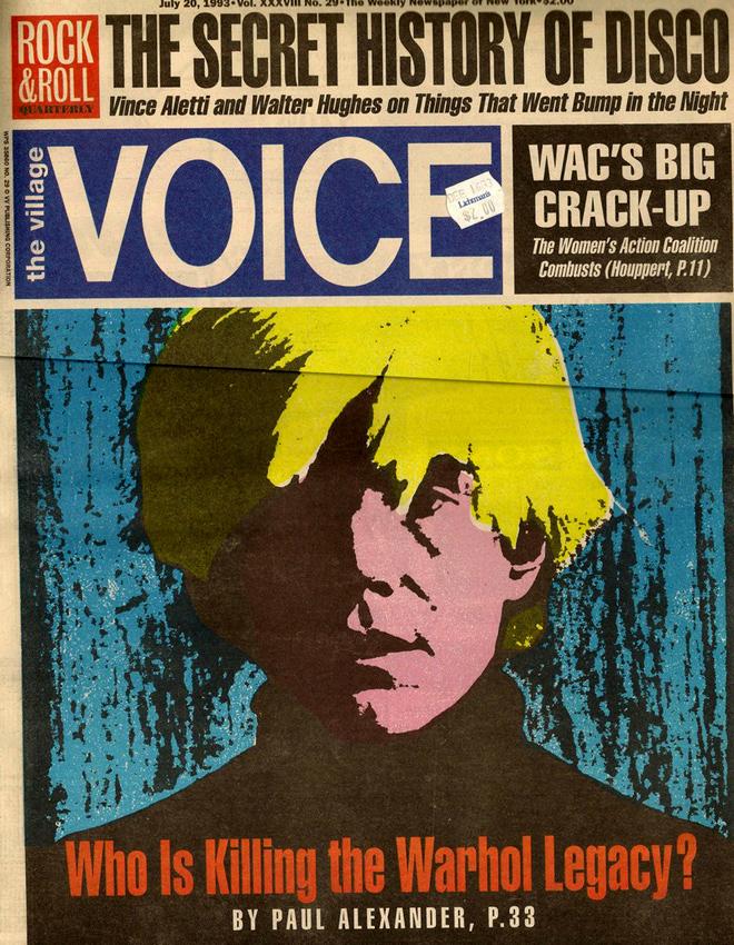 שער גיליון משנת 1993, עם דיוקנו של אנדי וורהול, יקיר סצנת חיי האמנות והלילה.