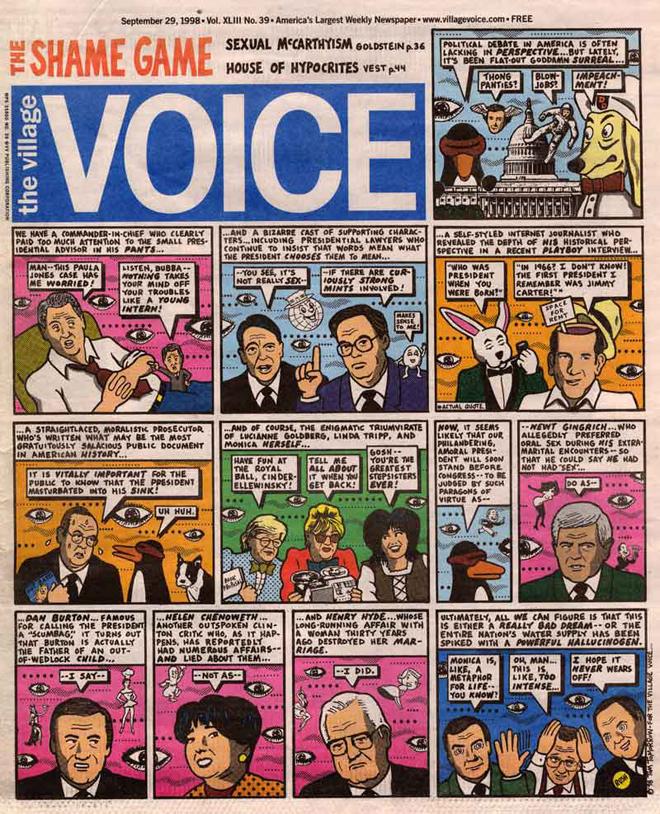 מותח את גבולות ״השער״ - עמוד קומיקס פרי עטו של תום טומורוו לשער גיליון הווילג׳ וויס משנת 1998