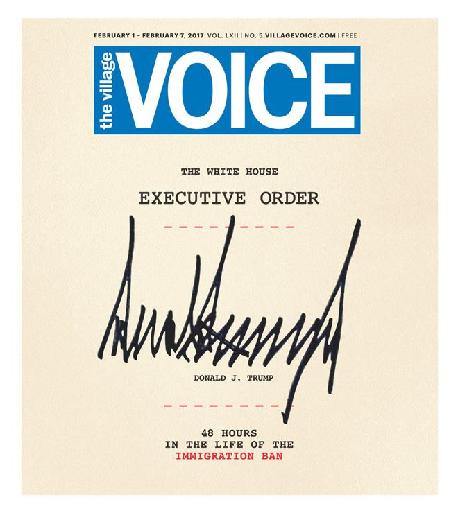 שבוע ההשבעה לנשיאות ארה״ב, הוויס מפרסם שער חזק ואייקוני מאד - חתימות של הנשיא הנבחר דונלד טראמפ, שחותם על העיתון כמו עוד צו נשיאותי עליו חתם / 2017