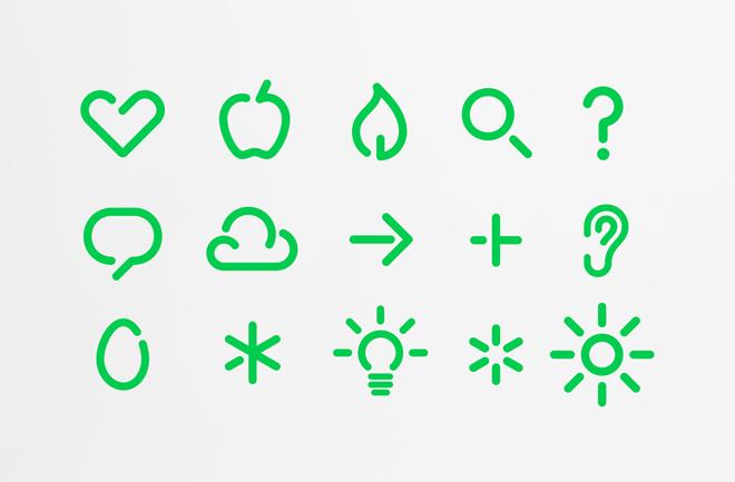 אייקונים שנעשו ברוח לוגו הלב הראשי של רשת בתי המרקחת השוודית Apotek Hjärtat / לקוח מהאתר של BVD