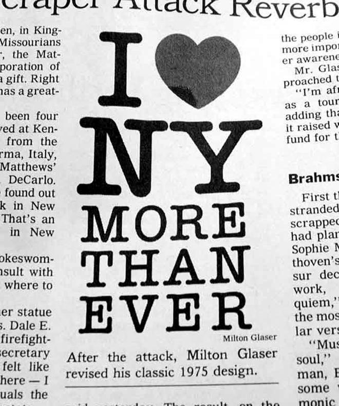 אני אוהב את ניו יורק יותר מתמיד״ - המודעה שפרסם גלייזר בניו יורק טיימס ימים אחרי הפיגוע