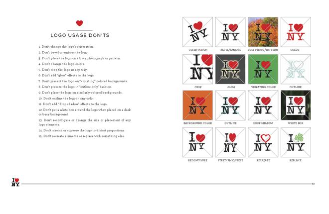 מהנחת הלוגו על רקע צבעוני, עיוות של הלוגו, גופן שונה, אייקון הלב בשפה גרפית אחרת - מה אסור לעשות (או איך תדעו שקניתם חולצה מזוייפת) / מתוך ספר המותג של ניו יורק, 2008
