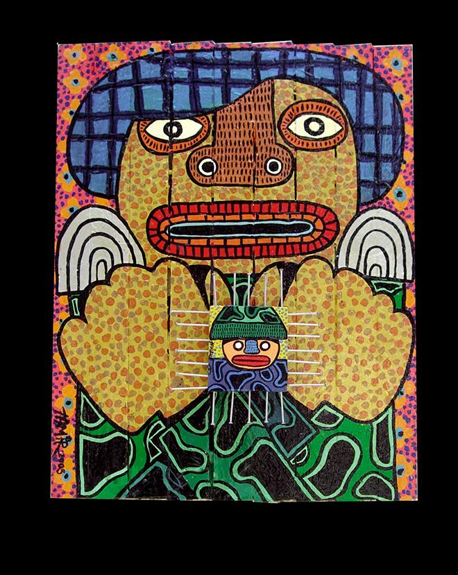 תמיר-שפר,-אמא-ובן,-2005,-אקריליק-על-עץ