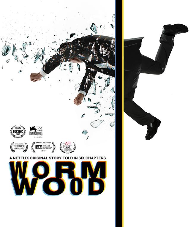 הלוגו בעל האותיות המשתנות בכרזה לסדרת Wormwood של Netflix