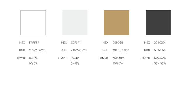 צבעוניות מאד ״בוטיקית״ של צהב, כסף ושחור לבן / מתוך ספר המותג