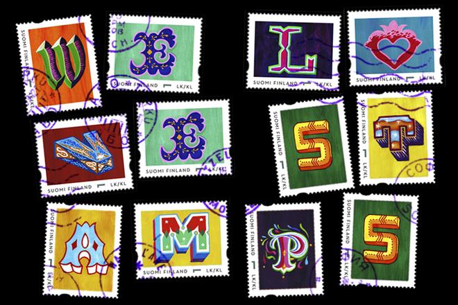 במסגרת הפרוייקט שבו השתתפו מאיירים וטיפוגרפים נוספים, הופקו בולים מיוחדים עם האותיות המאויירות / 2014