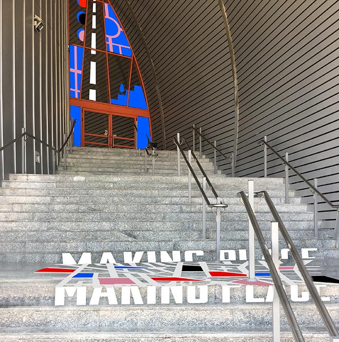 הדמיה של חזית המבנה בכניסה לתערוכה
