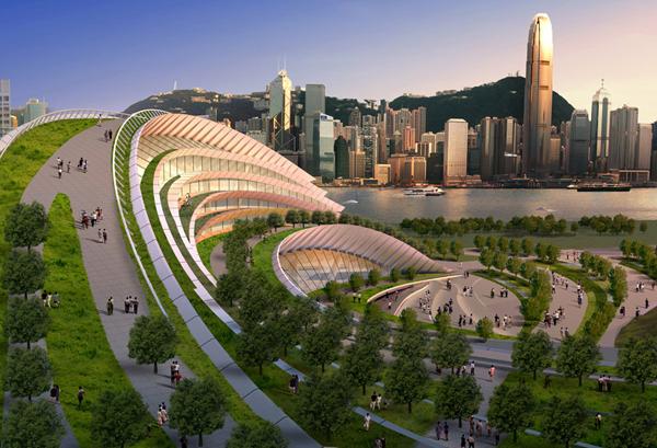 נפח מכובד, גג ירוק ועמדת תצפית נהדרת אל קו הרקיע של הונג קונג. לא מעניין את התושבים? באדיבות חברת AEDAS