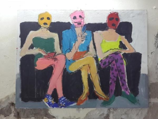 עבודה של אולגה קונדינה בתערוכה, 19 ביוני 2014
