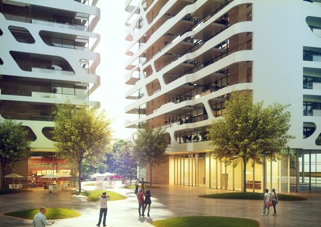 הבניינים החדשים שמתכנן אילן פיבקו. הדמיה לא סופית (יזמות YBOX)