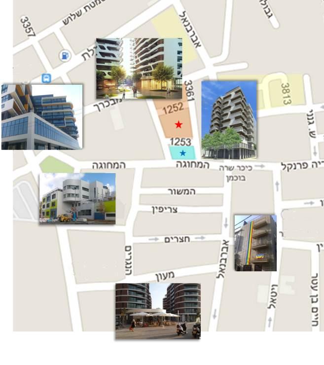 הפנים החדשות של פלורנטין. מלמעלה ובכיוון השעון: הדמיית הבניינים של פיבקו, הדמיית בית המחוגה (רמי גיל), מלון פלורנטין 6 (אורית מור וגדי גול),