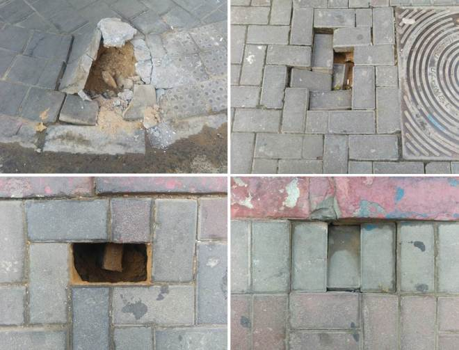מצב המדרכות. מדגם קטנטן מהרחובות בנבנישתי ובן עטר, ינואר עד אוגוסט 2016