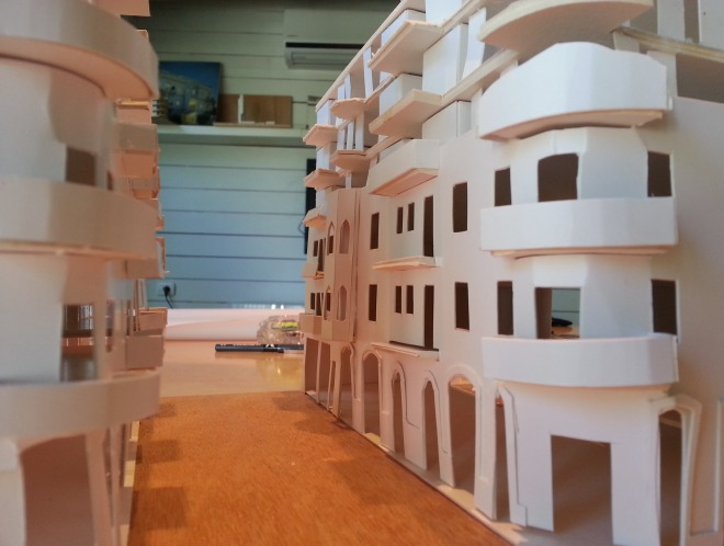 מודל נוסף שנבנה במשרד בשלב החיפושים (באדיבות פרדו אדריכלים)