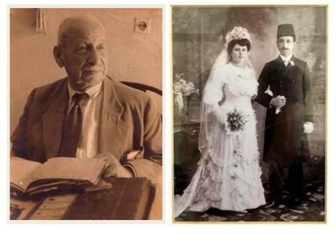 משה מטלון (1872-1959). מימין: בחתונתו עם מלכה, יפו 1907 (צילומים באדיבות מוריאל מטלון)