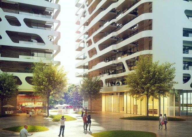 הרבי מבכרך 3. שני בניינים, 117 דירות של שניים עד ארבעה חדרים, וחניון צמוד. הדמיה לא סופית (יזמות: YBOX; מתכנן: פיבקו אדריכלים)