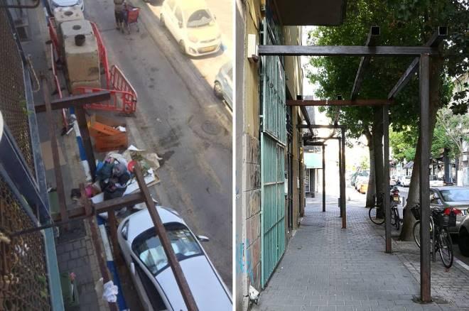עמודי פלדה שפלשו למדרכה. מימין: ברחוב פרנקל. משמאל: במבט ממרפסת בצד רחוב השוק (צילום: עמליה ארגמן ברנע)