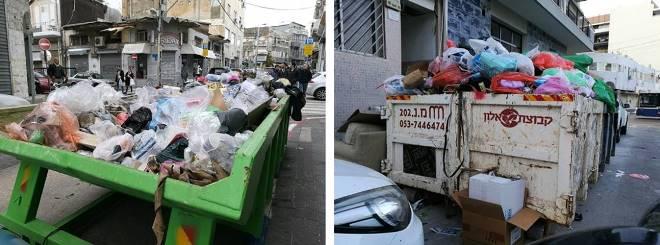 עגלות פסולת בניי מלאות בזבל. רחוב בן עטר ורחוב לוינסקי, ינואר-מרץ 2018