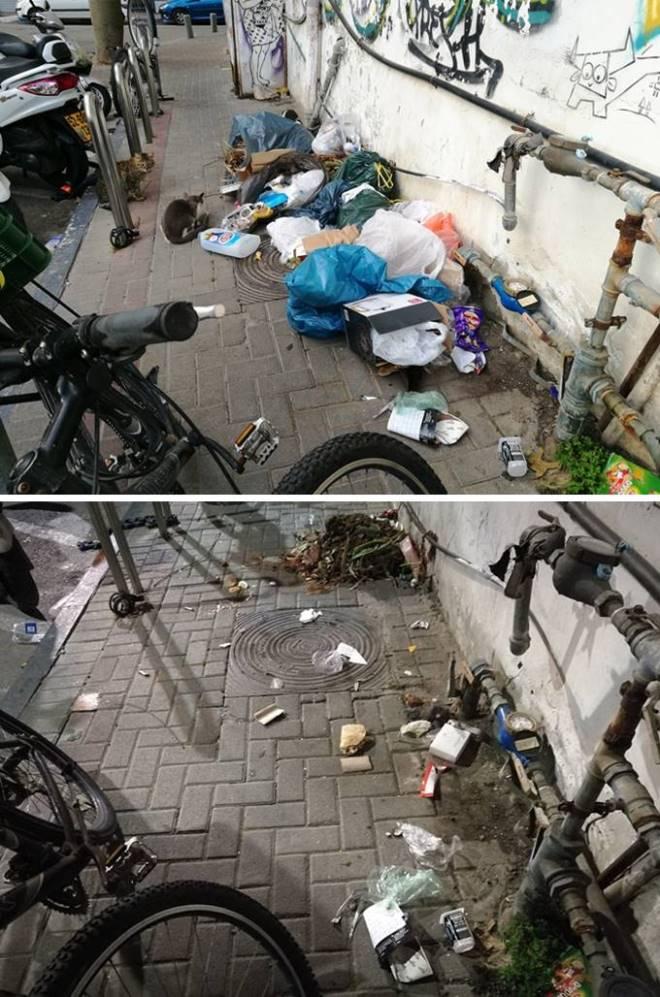 לפני ואחרי. פלורנטין  פינת בן עטר, 17 במרץ 2018