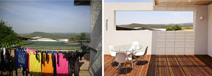 נוף השדות - המשאב העיקרי של הבית - מוסגר באמצעות קיר שמסתיר את מבני המשק  והפך ל''תמונה'' שבה נתקל כל מי שיוצא מהבית (צילום: טל קרת)