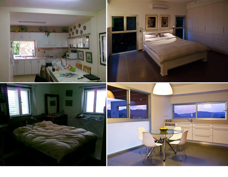 מיקום החללים בבית התהפך, בהתאם לשימושים ולכיווני האוויר. למעלה: מה שהיה המטבח (משמאל) הפך לחדר השינה. למטה: חדר השינה הישן הפך למטבח החדש, שגם בו הוגדלו החלונות לטובת נוף המשק (מטבח: ''מטבחי זיו'') (צילום: טל קרת)