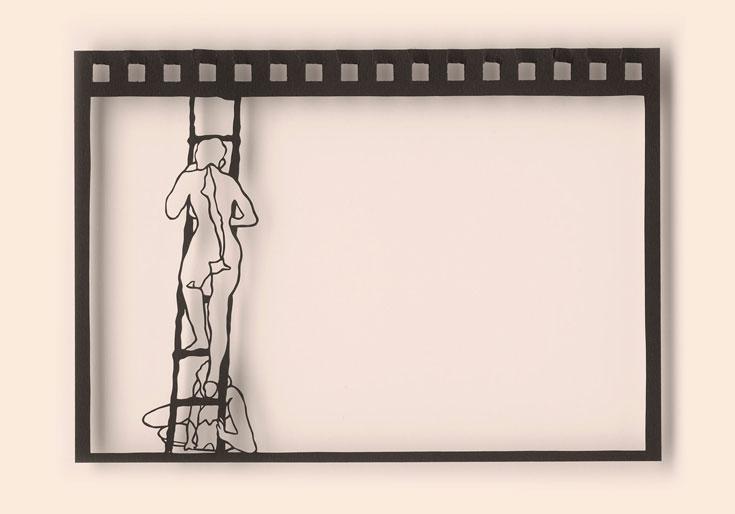 """עבודה מתוך """"Baggage"""", התערוכה החדשה של נעה יקותיאלי,  שמציגה יצירות בטכניקה של חיתוך נייר (צילום: סטודיו שוקי קוק)"""