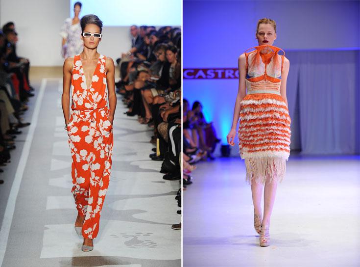 פרויקט הגמר של מארק גולדנברג (מימין), שזכה בהתמחות בבית האופנה דיאן פון פירסטנברג (משמאל). קיבל שכר של 100 דולר בשבוע  (צילום: gettyimages )