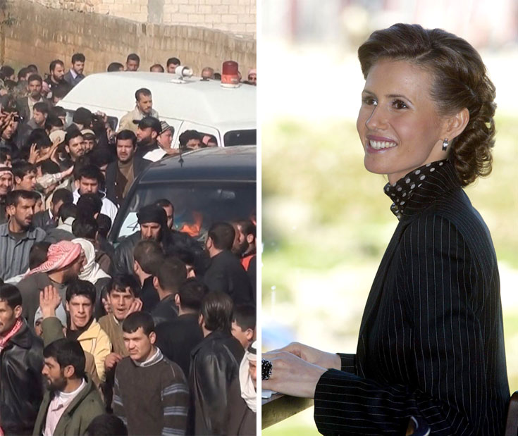 אסמא אל-אסד (מימין) והמהומות בסוריה. במגזין ווג טענו בתגובה לביקורות ''הכתבה היא פתח קטן בחלון אל העולם הסורי'' (צילום: gettyimages, רויטרס)