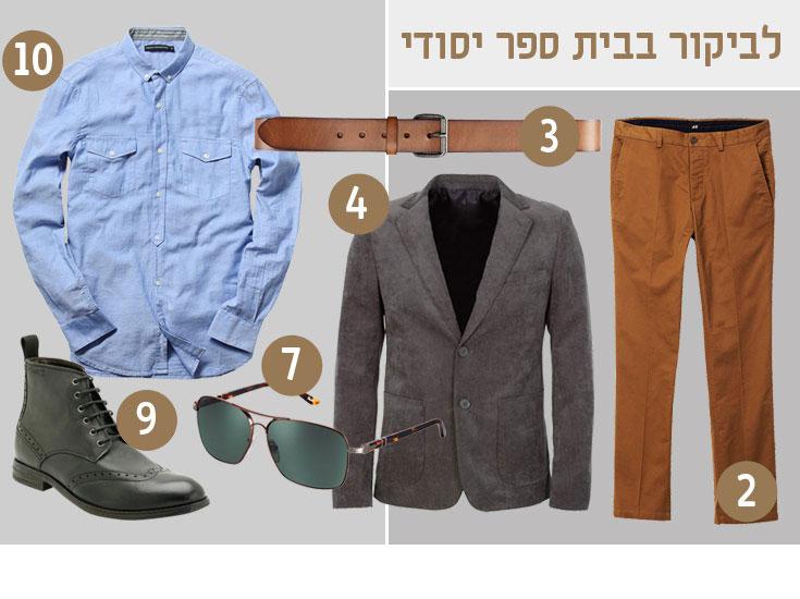 מכנסיים, 145 שקל, וחגורה, 55 שקל – H&M; ז'קט, 399 שקל, קסטרו מן; משקפי שמש, 770 שקל, פרסול; מגפיים, 720 שקל, קלארקס; חולצה בצבע תכלת, 350 שקל, פרנץ' קונקשן