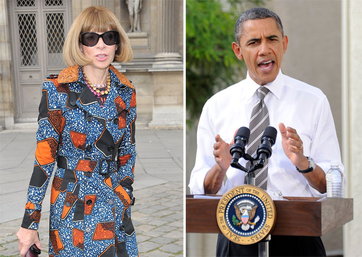 ברק אובמה ואנה ווינטור. זו הפעם השנייה שהעורכת מגייסת את כוחה בתעשיית הקוטור לטובתו של הנשיא (צילום: gettyimages)