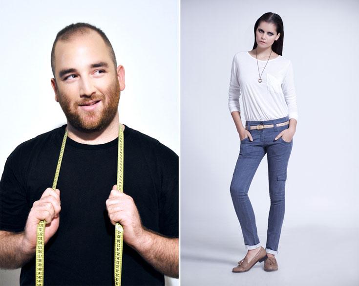 המכנסיים של ZAP (מימין) והמעצב יואב מאיר. ''ישראליות אוהבות להתלבש נוח ופרקטי, לכן הן גם לובשות מכנסיים לכל מקום'' (צילום: רוני שוקרון, עמיר צוק)