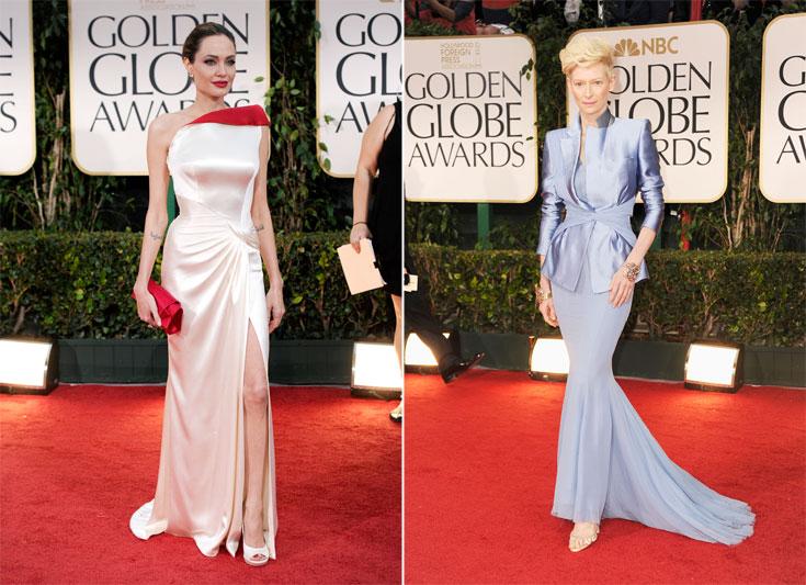 טילדה סווינטון מתוחכמת ומפוסלת בשמלה של היידר אקרמן (מימין) ואנג'לינה ג'ולי מתאמצת מדי בשמלה של אטלייה ורסאצ'ה (צילום: gettyimages)