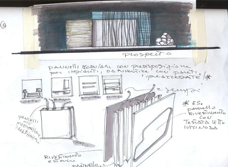 סקיצה של ה-bungalove, שמתארת איך הוא מתפרק ומתקפל (באדיבות Prospettive Srl)
