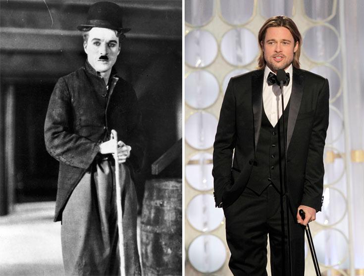 בראד פיט בטקס גלובוס הזהב, 2012, וצ'ארלי צ'פלין בשנת 1928. מקל ההליכה מלווה את המלתחה הגברית מימי משה ועד היום (צילום: gettyimages)