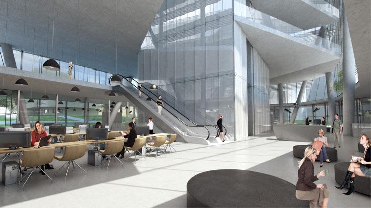 כך אמור להיראות הבניין מבפנים (הדמיה: קלוש צ'ציק אדריכלים בשיתוף קימל אשכולות אדריכלים, K.P.Studio)