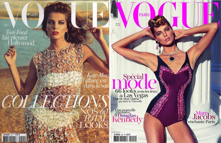 דריה וורבוי על שער גיליון פברואר 2012 של ווג פריז (מימין) ועל שער הגיליון מפברואר 2010. ''אפשר להלביש אותה בטי שירט לבנה והיא תגרום לה להיראות פנטסטי'', אמרה עליה עורכת ווג פריז עמנואל אלט