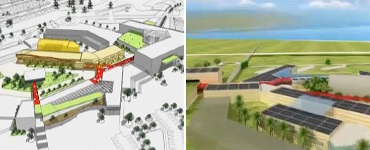 מימין: מראה כללי. משמאל: ''בית החיות'' בצהוב