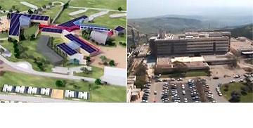 מימין: בית החולים ''זיו'' בצפת. משמאל: הקמפוס המתוכנן