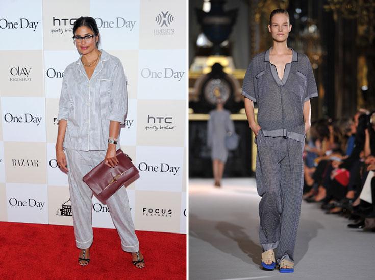 פיג'מה שיק בתצוגת קיץ 2012 של סטלה מקרטני (מימין) ומעצבת האופנה רייצ'ל רוי על השטיח האדום. בשורה משמחת לתשוקה הארצישראלית לנוחות מרבית כערך עליון (צילום: gettyimages)