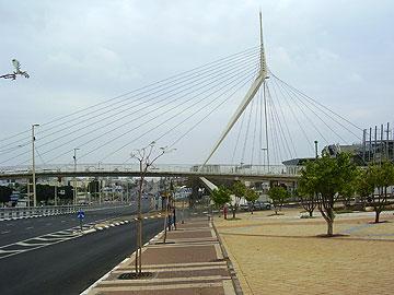 גשר המיתרים בפתח תקוה. לא זול (צילום: ד''ר אבישי טייכר, CC)