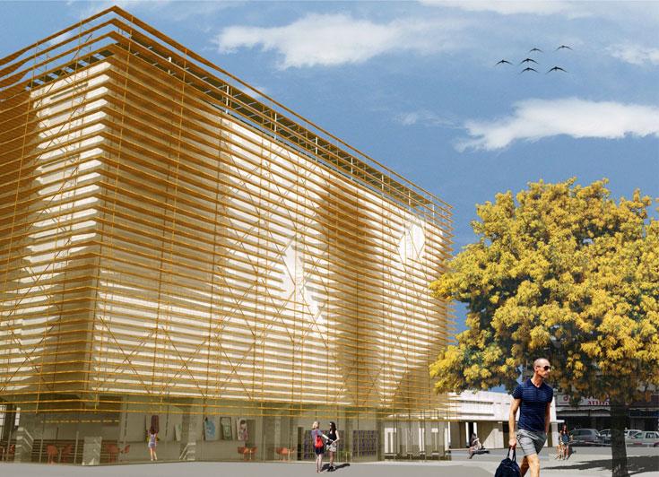 במבנה הזה תולים תקוות: האם בית הספר ''מנשר'', שיוקם על חורבות התחנה הישנה, יקים לתחייה את השכונה כולה? (הדמיה: HQ אדריכלים)