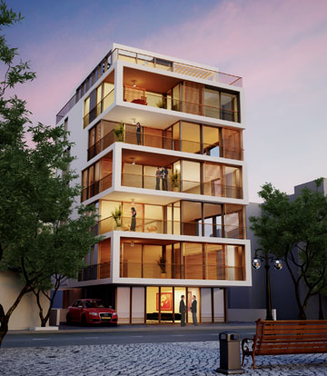 פרויקט תמ''א 38 ברחוב הירקון 58. האדריכל, גידי בר אוריין, מתכנן עשרות כאלה (הדמיה: evolve media)