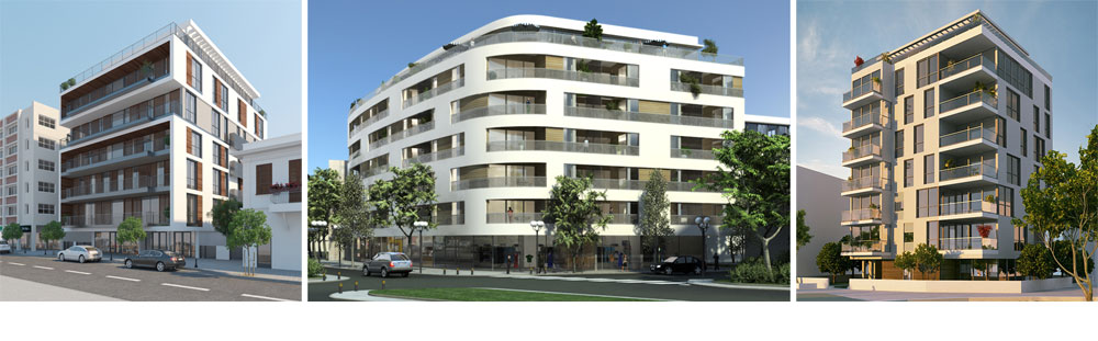 פרויקטים של האדריכל גידי בר אוריין, המזוהה יותר מכל עם שימור והוספת קומות לבניינים קיימים בעיר. הוא מתרעם על כך שברובע 3 לא יתאפשרו מבנים של 6.5 קומות, אלא קצת פחות מכך (הדמיה:evolve media/ סטודיו 84 / אנדו סטודיו)