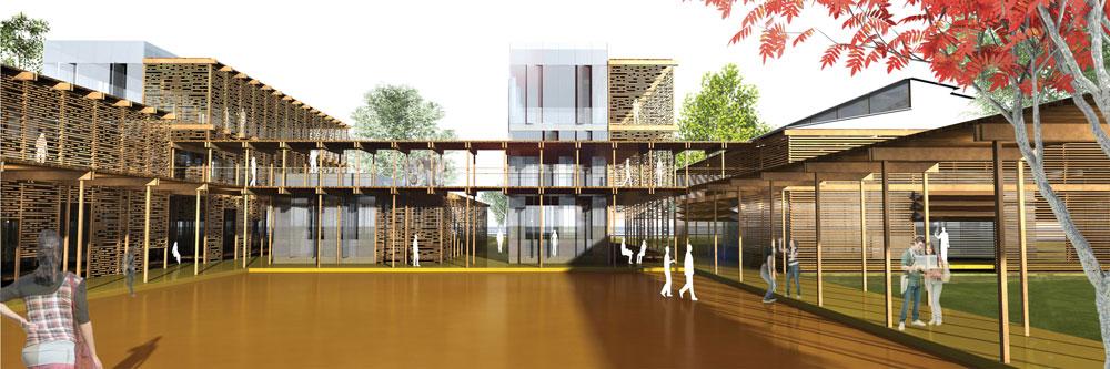 הפרויקט אמור גם לשמש ככניסה חדשה ל''שיבא''.  הפרדה בין אזורי הלימוד לבין אזורים קהילתיים, בלתי פורמליים (הדמיה: קיסלוב קיי אדריכלים)