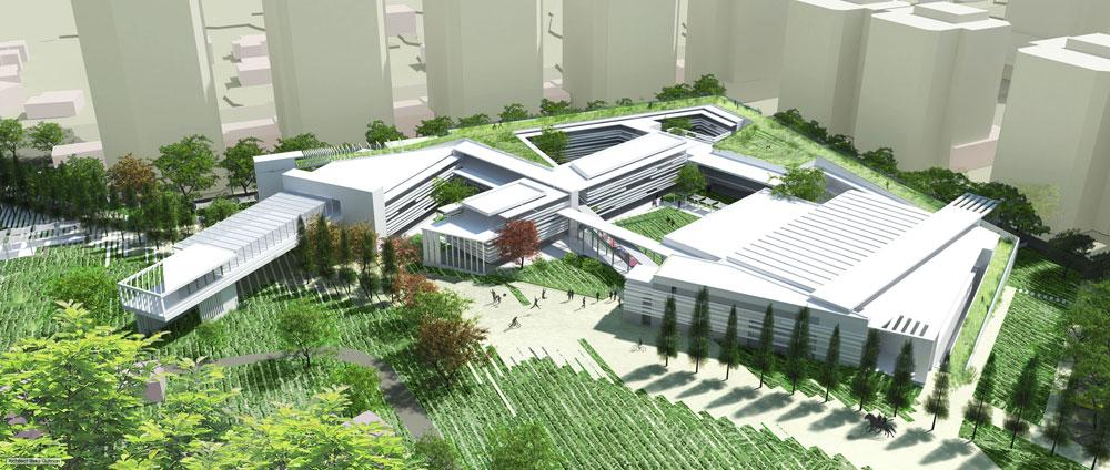 גוטמן אדריכלים, גם הם במקום השני, שלחו זרועות מבונות לכיוון השביל הציבורי. מסה דומיננטית מחוררת באמצעות 5 חצרות (הדמיה: אדריכלית רבקה גוטמן)