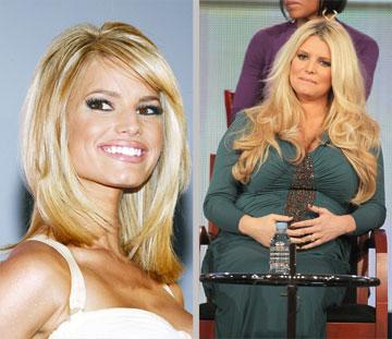 הריון זה אסון? ג'סיקה לפני (משמאל) ואחרי שנכנסה להריון  (צילום: gettyimages)