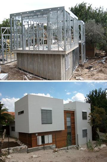 ביתו של אוסטרליץ. אפשר לבנות בקלות קירות עגולים, אבל קשה לסטות מהתוכנית בשטח, לאחר שהשלד הוכן במפעל (צילום: מייטק ישראל)
