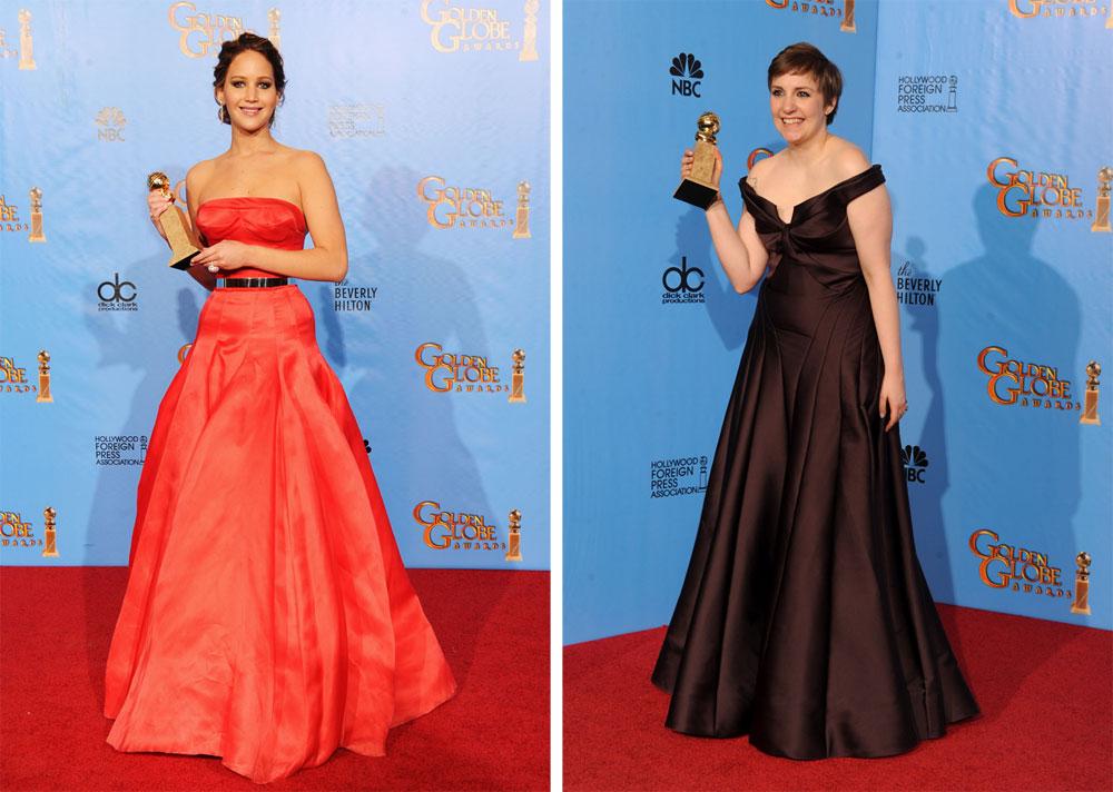 השטיח האדום בגלובוס הזהב: לנה דנהם מאכזבת בשמלה סטנדרטית מדי (מימין) וג'ניפר לורנס מקסימה בגזרה מחמיאה וצבע אמיץ (צילום: gettyimages)