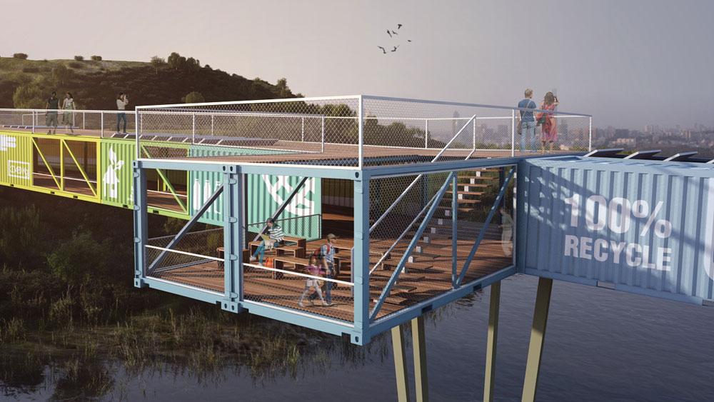 התכנון מתבסס על השילוש הקדוש של האדריכלות הירוקה: Reuse, Reduce, Recycle (מיחזור, צמצום ושימוש מחדש) (הדמיה: סטודיו AIKO)