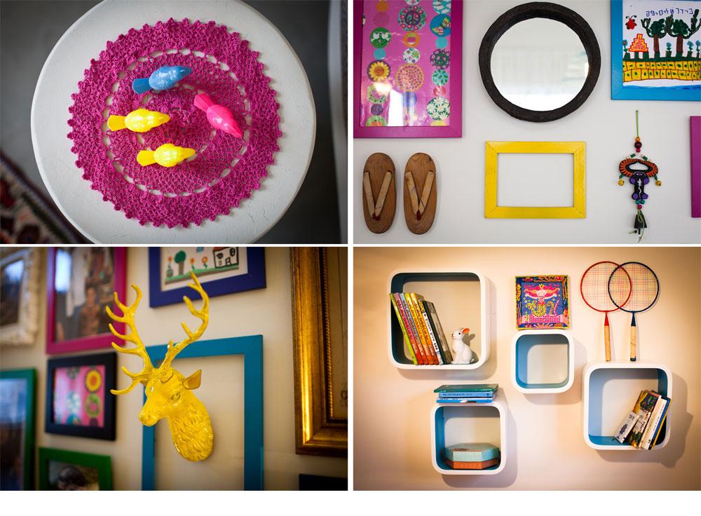 קומפוזיציות צבעוניות מעטרות ונותנות אופי לקירות שונים בבית. בתוך המסגרות הססגוניות צילומים משפחתיים, ציורים של הילדים וחפצים שאספה גריב (צילום: יוראי לברמן)