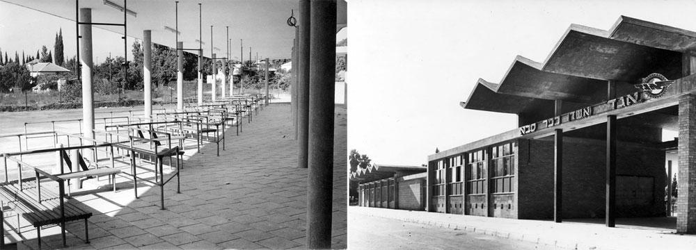 התחנה בכפר סבא. האדריכלות של שנות ה-50 וה-60 דגלה בצניעות ובפשטות. גם כך, התחנה המרכזית העירונית הפכה למבנה דומיננטי בכל יישוב (באדיבות הארכיון ההסטורי אגד)